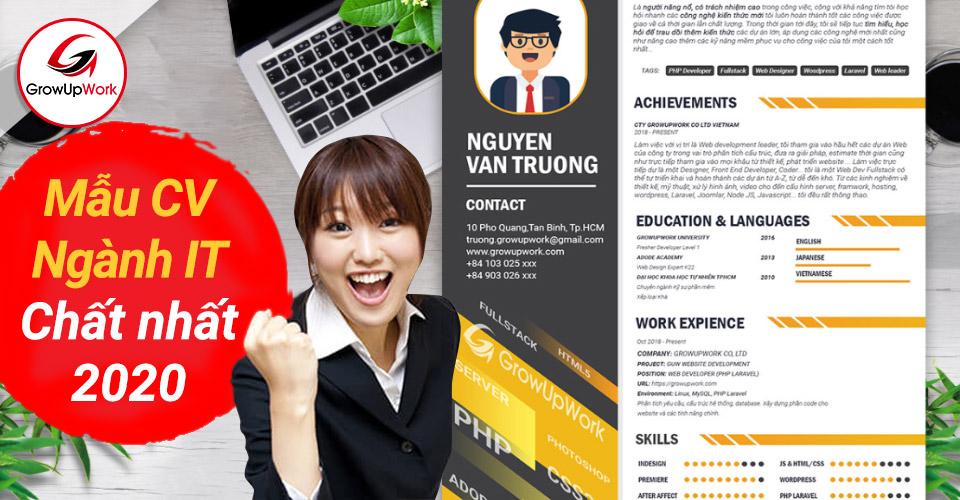 """Mẫu CV xin việc ngành IT (CNTT) """"chất lượng"""" nhất 2020"""